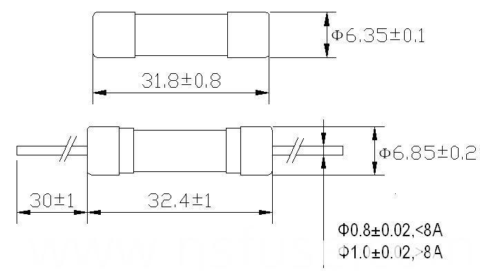 Ceramic Tube Hbc Fuse 6.35 X 31.8 mm