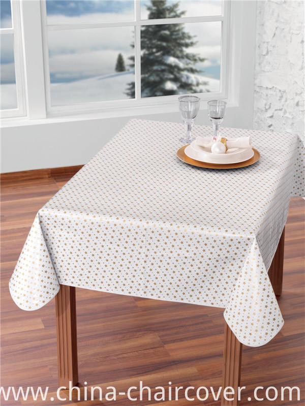 Hot Sale Custom Printed Plastic Tablecloth with Nonwoven/Fabric Backing High Quality LFGB