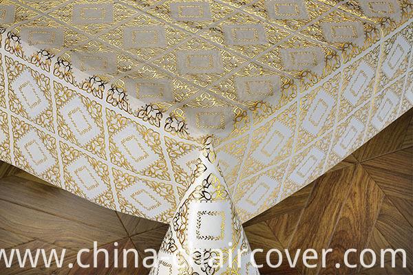 137cm Width Gold PVC Crochet Tablecloth on Roll Factory