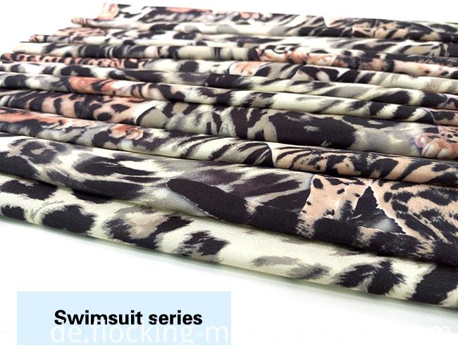 Leopard Printed High-Stretch Polyester Spandex Swimwear Fabric