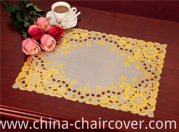 Hot Popular PVC Lace Gold Tablemat 38*55cm for Home/Wedding/Coffee Use