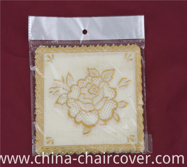 12.5*12.5cm Square Shape PVC Gold Lace Tablemat Feature Oilproof/Waterproof and Wedding