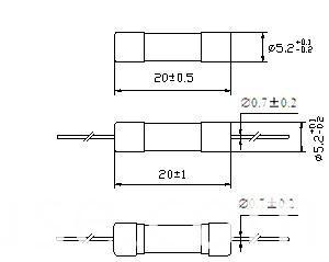 Ceramic Tube Fuse 5*20 Time-Lag High-Breaking 125V/250V Rt2-20 (H)