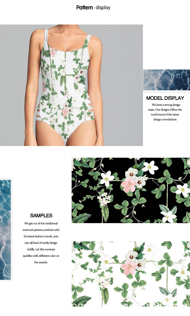 High-Stretch Swimwear Fabric with Digital Flower Print
