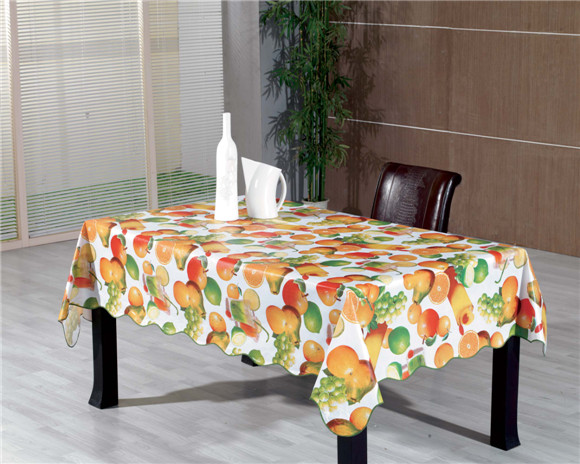New Design PVC Printed Tablecloth with Fabric Backing LFGB Factory Wholesale