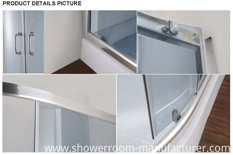 Grey Color Tempered Glass Shower Enclosure (E-22 low tray)