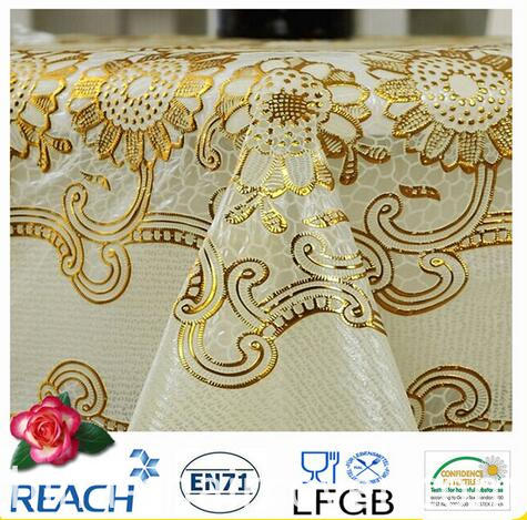PVC Lace Gold Tablecloth Round 180cm Wedding/Party